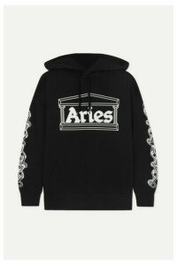 Aries - 2 Chains Printed Cotton-jersey Hoodie - Black