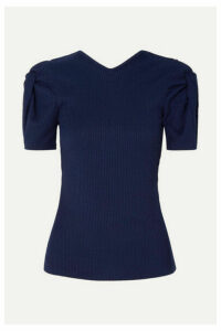Maggie Marilyn - + Net Sustain Sweet Like Honey Knotted Cutout Ribbed Jersey Top - Midnight blue