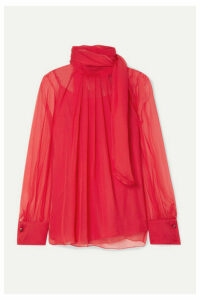 Max Mara - Gerona Pleated Silk-chiffon Blouse - Red