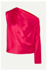 Michelle Mason - One-sleeve Silk-charmeuse Top - Red