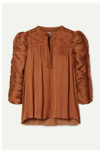 Ulla Johnson - Lissa Ruched Embroidered Charmeuse Blouse - Orange
