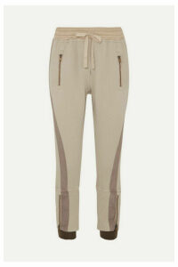 Haider Ackermann - Cropped Paneled Cotton-jersey Tapered Track Pants - Beige