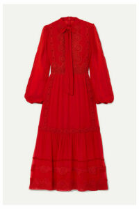 Costarellos - Pussy-bow Crochet-trimmed Silk-blend Crepe De Chine Midi Dress - Red