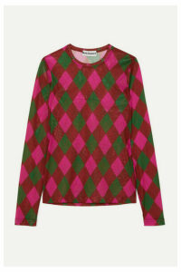 Molly Goddard - Freddie Argyle Stretch-mesh Top - Pink