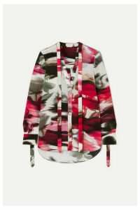 Alexander McQueen - Pussy-bow Floral-print Silk Crepe De Chine Blouse - Red