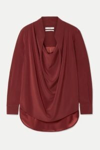 Co - Draped Crepe Blouse - Burgundy