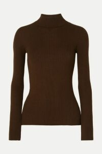 The Row - Sulli Ribbed Silk And Cotton-blend Turtleneck Sweater - Brown