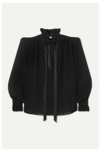 SAINT LAURENT - Pussy-bow Silk-georgette Blouse - Black