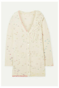 LoveShackFancy - Emanuelle Embellished Appliquéd Knitted Cardigan - Cream