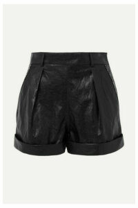 Philosophy di Lorenzo Serafini - Crystal-embellished Crinkled Faux Leather Shorts - Black