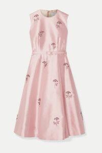 Erdem - Farrah Belted Crystal-embellished Satin Dress - Pink