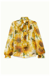 Dolce & Gabbana - Pussy-bow Floral-print Silk-organza Blouse - Ivory