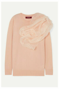 Sies Marjan - Awa Silk Organza-appliquéd Stretch-wool And Cashmere-blend Sweater - Blush