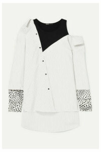 Maje - Lamelia Layered Twill, Jacquard And Jersey Blouse - Ivory