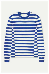 Victoria, Victoria Beckham - Embroidered Striped Wool Sweater - Blue