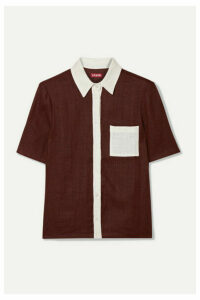 STAUD - Cav Two-tone Linen Shirt - Burgundy