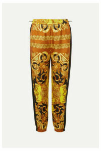 Versace - Printed Silk-twill Tapered Track Pants - Yellow