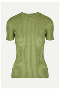 ANNA QUAN - Bebe Ribbed Cotton Top - Green