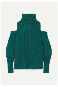 Antonio Berardi - Cold-shoulder Ribbed Wool And Cashmere-blend Turtleneck Sweater - Petrol