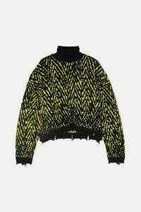 Versace - Distressed Intarsia Wool-blend Turtleneck Sweater - Black