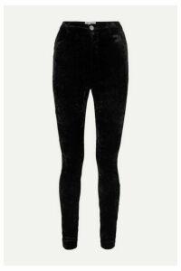 Attico - Stretch-velvet Skinny Pants - Black