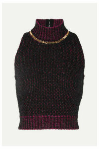 Versace - Cropped Embellished Metallic Bouclé Sweater - Black