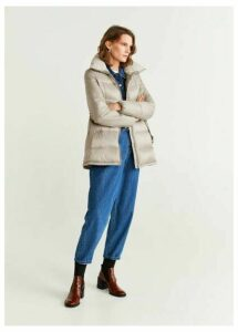 Belt quilted coat