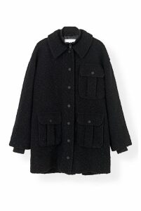 Ganni Boucle Wool Coat in Black - 36 Black