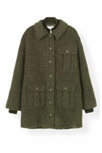 Ganni Boucle Wool Coat in Kalamata - 36 Green