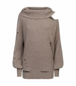 Distressed Cold-Shoulder Sweater