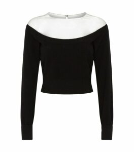 Sheer Yoke Cropped Sweater
