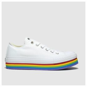 Converse White & Yellow All Star Platform Rainbow Ox Trainers
