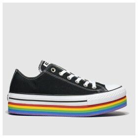 Converse Black & White All Star Platform Rainbow Ox Trainers