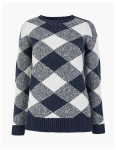 M&S Collection Checked Relaxed Fit Jumper