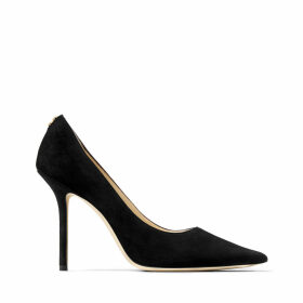 LOVE 100 Black Suede Pointy Toe Pumps with Button