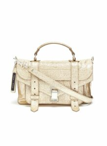 'PS1' tiny crinkled metallic leather satchel