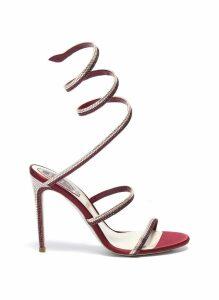 'Cleo' strass coil anklet satin sandals