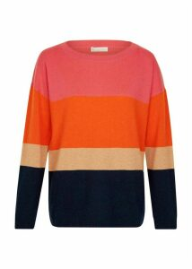 Sofia Wool Cashmere Stripe Sweater Navy Multi