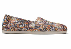 TOMS Monarch Wing Canvas Print Women's Classics Ft. Ortholite Slip-On Shoes - Size UK7.5