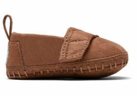 Toffee Microsuede Tiny TOMS Crib Alpargatas Shoes - Size UK1.5