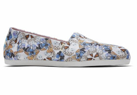 TOMS Radial Butterfly Canvas Print Women's Classics Ft. Ortholite Slip-On Shoes - Size UK4.5