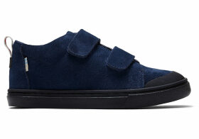 TOMS Navy Suede Youth Lenny Mid Double Strap Sneakers Shoes - Size UK5