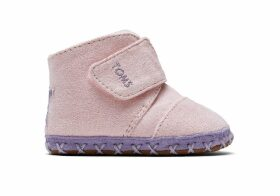 Pink Microsuede Star Applique Tiny TOMS Cuna Crib Shoes - Size UK1.5