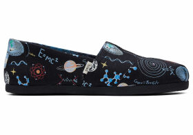 TOMS Black Glow In The Dark Cosmic Wonder Women's Classics Ft. Ortholite Slip-On Shoes - Size UK9