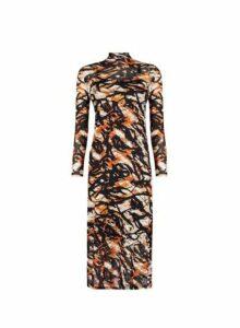 Womens Brown Animal Print Mesh Midi Dress- Brown, Brown