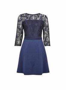 Womens **Blue Trim Front Lace Skater Dress- Blue, Blue