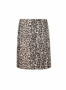 Womens Multi Colour Animal Print Scuba Mini Skirt- White, White