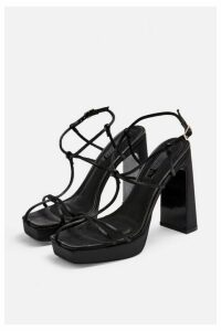 Womens Riga Black Cage Block Heels - Black, Black