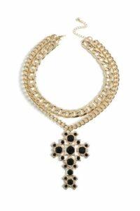 Womens **Mega Chain Cross Collar - Black, Black