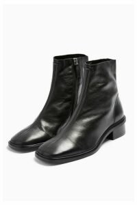 Womens Arrow Black Flat Leather Boots - Black, Black
